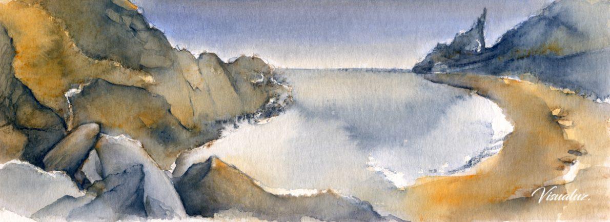 Cala Moraig, watercolor, 40 x 14,5 cm