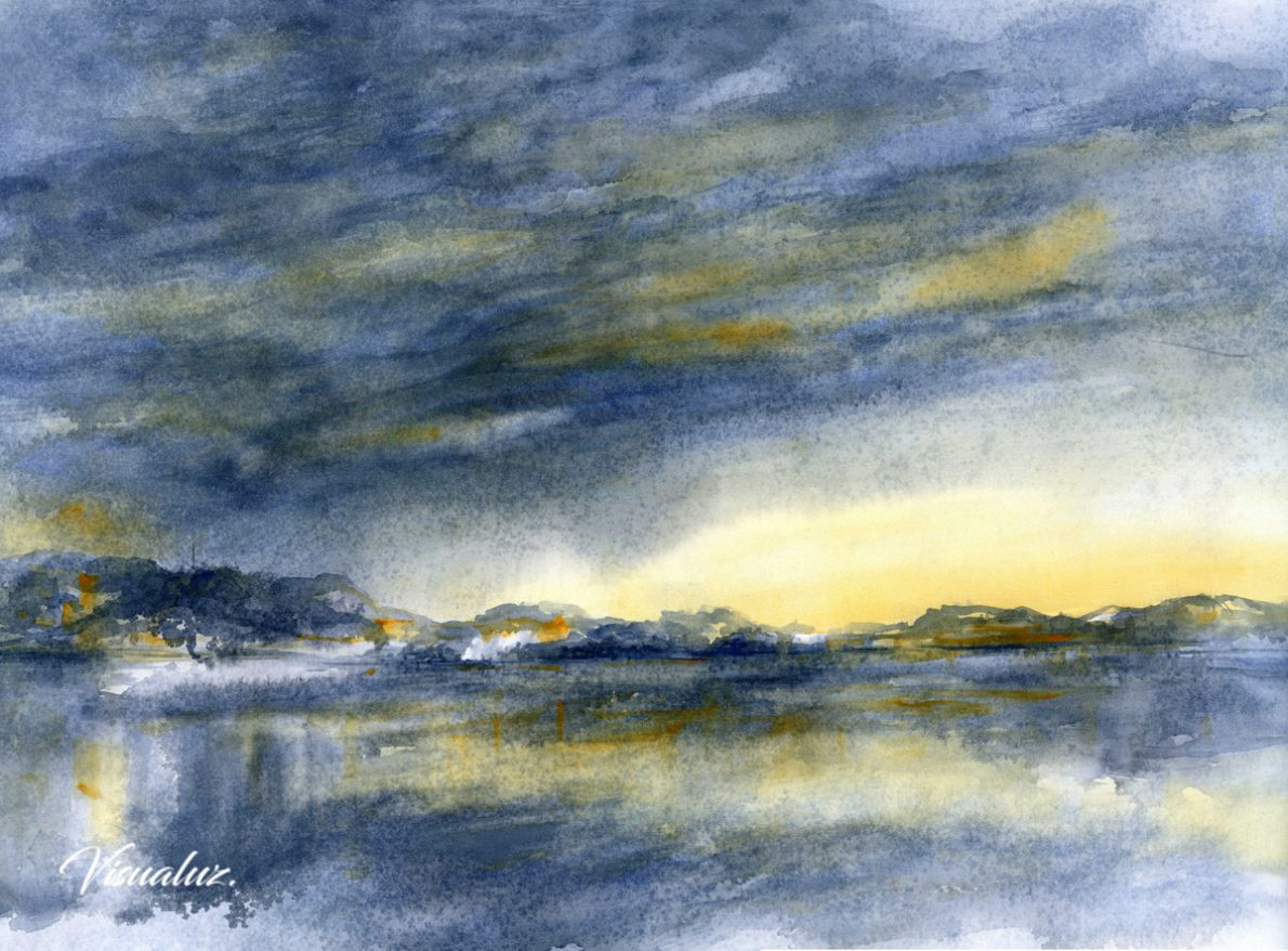 Cloudy sky and reflections, watercolor