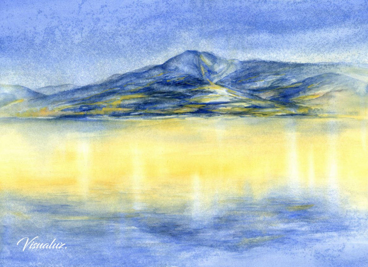 Blue mountain and reflection of sunlight, watercolor