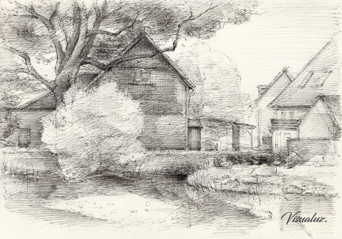 Dreamy mood at the village pond, drawing, 29,5 x 20,8 cm