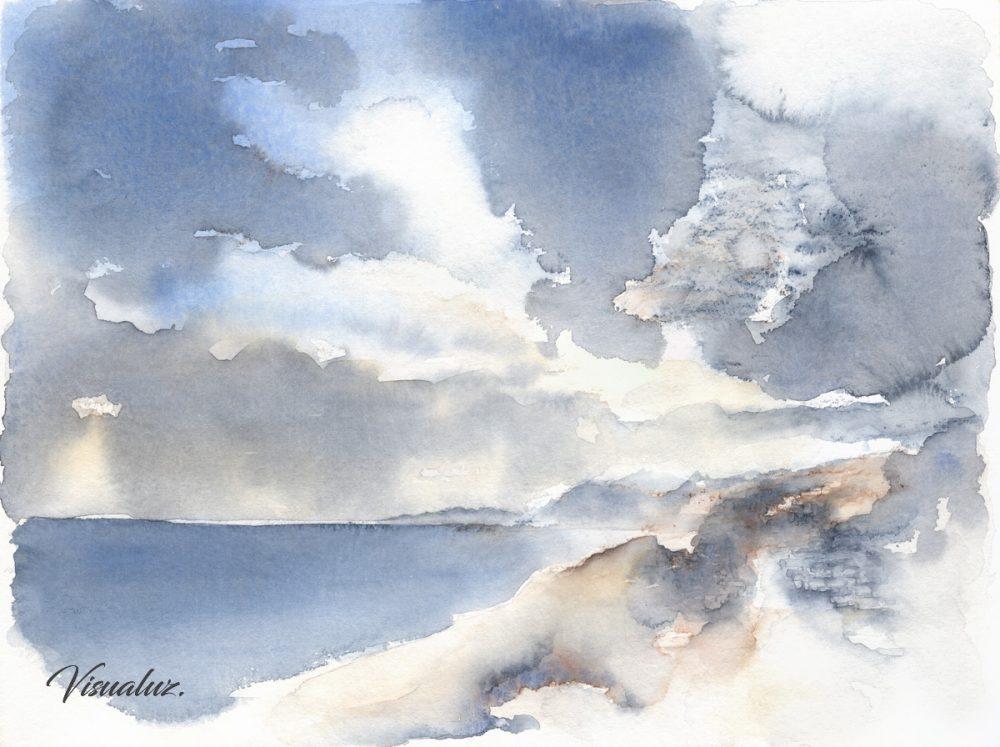 Coastal landscape, watercolor, 40 x 30 cm