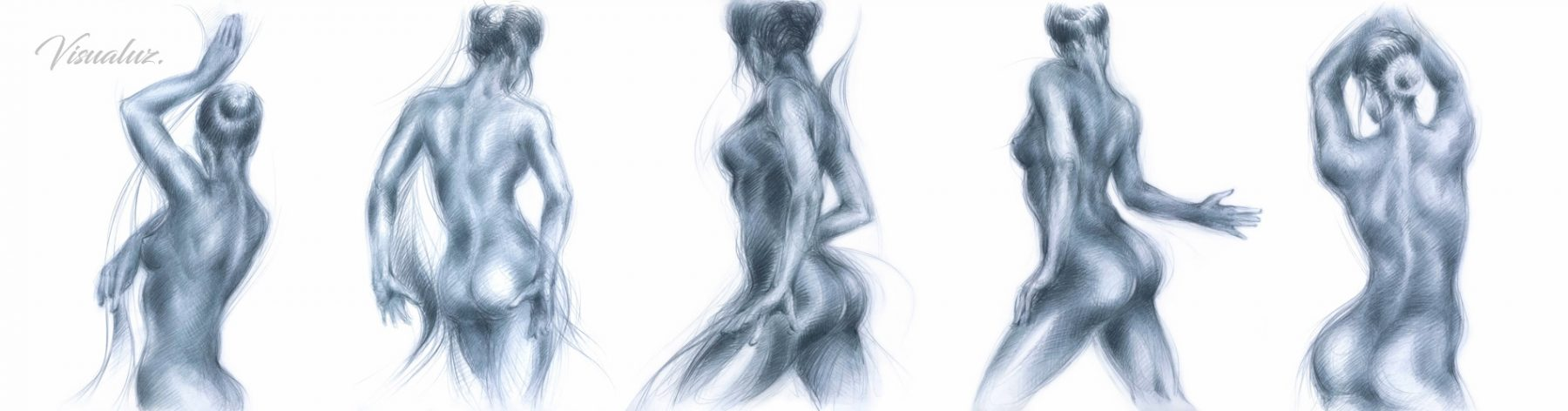 Flowing movement of blue dancers, drawings, polychromos on paper