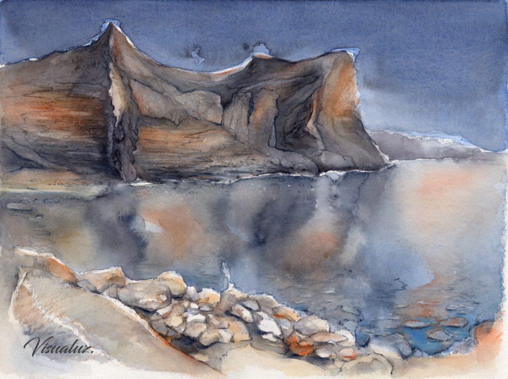 Reflection in the Mediterranean sea, watercolor, 40 x 30 cm