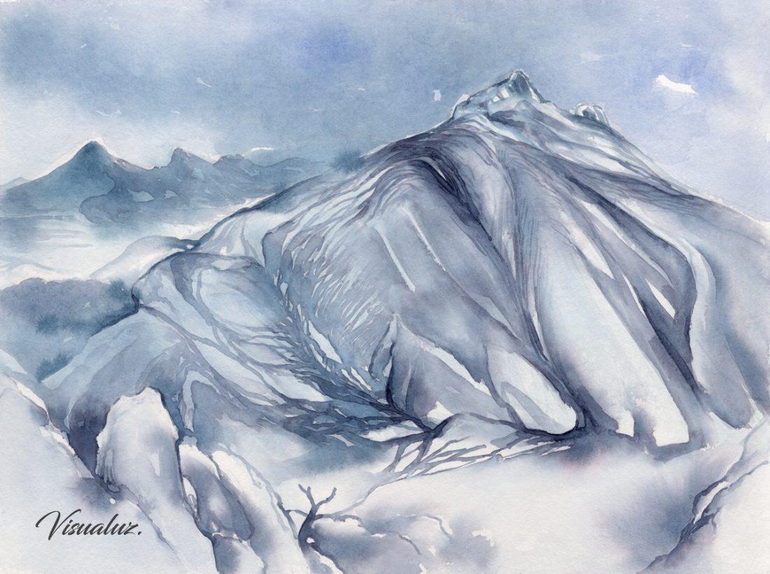Blue mountain, Sierra de Bernia, watercolor, 40 x 30 cm