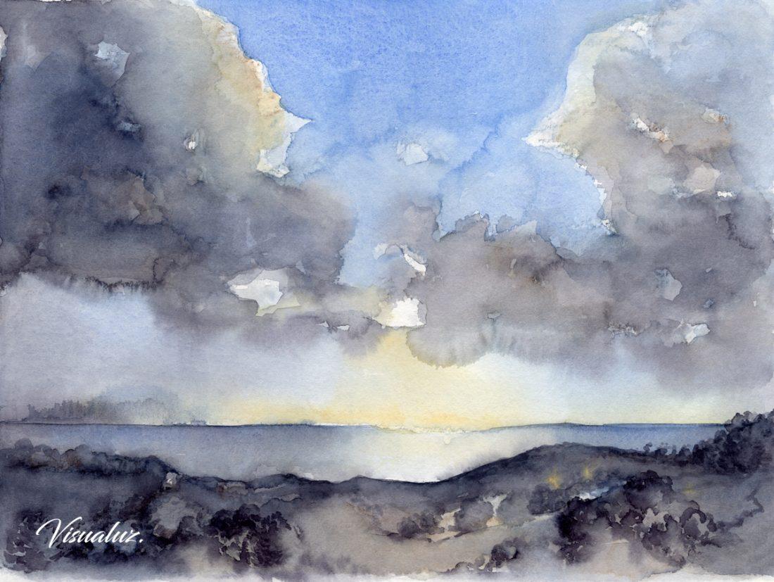 Clouds over the Mediterranean sea, watercolor, 40 x 30 cm