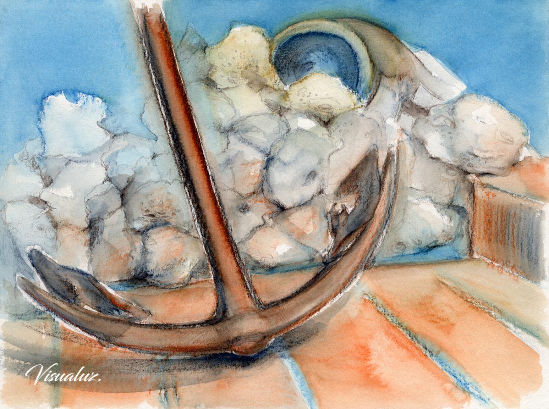 Anchor, watercolor, 40 x 30 cm