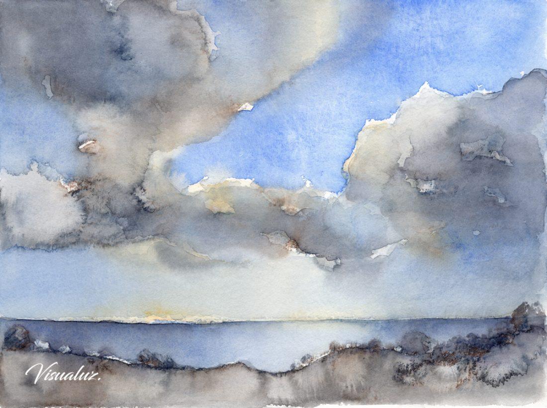 Clouds over the Mediterranean sea 2, watercolor, 40 x 30 cm