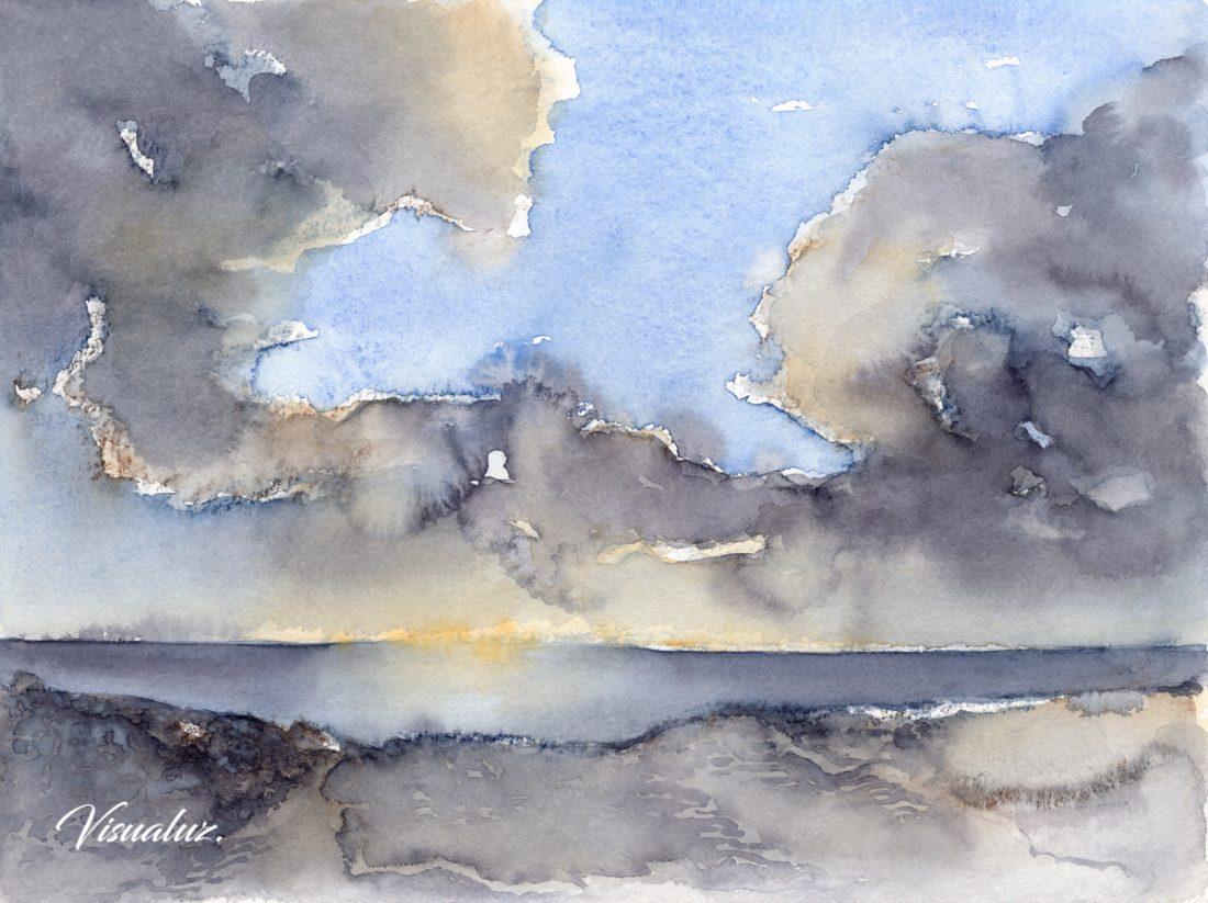 Clouds over the Mediterranean sea 3, watercolor, 40 x 30 cm
